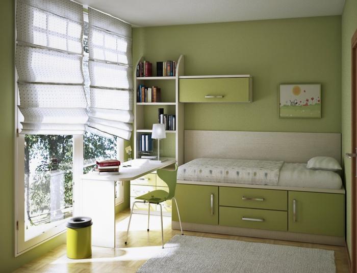 kleines Bett in grüner Farbe, Rollos an den Fenstern, Jugendzimmer Ideen für kleine Räume