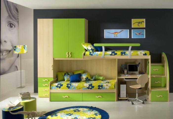 ein System zur Raumteilung in grüner Farbe für zwei Geschwister, Kinderzimmer Ideen für kleine Räume