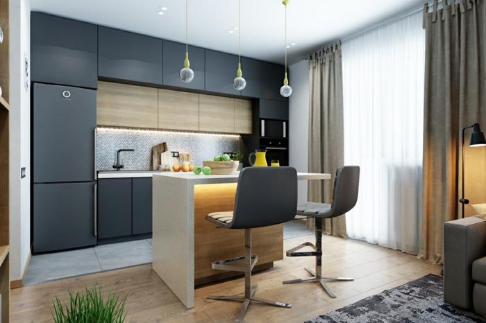eine Küche für zwei, Wandfarbe Hellgrau, Theke mit zwei Hocker, eine kleine Küche einrichten