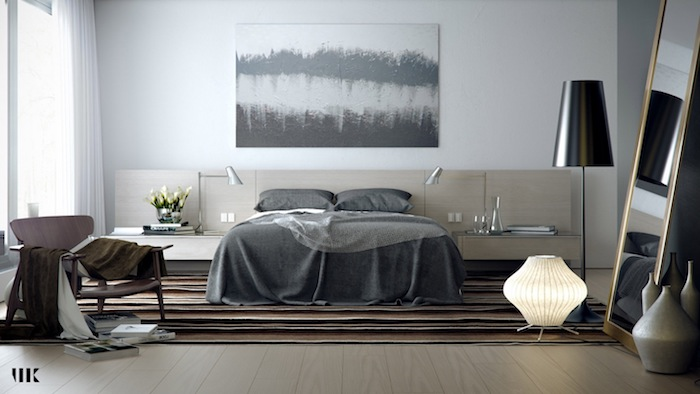wandgestaltung mit farbe grau und weiß, nuancen des grauen, kreatives zimmerdesign, einstimmig