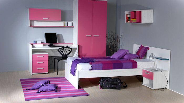 welche farben passen zusammen, lila, rosa, violett, ideen für das kinderzimmer, mädchen zimmer design