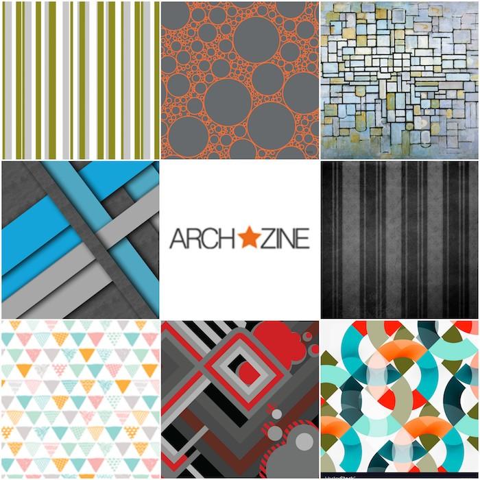 welche farbe passt zu grau, collage mit ideen, archzine logo, muster, farben mit grau kombinieren