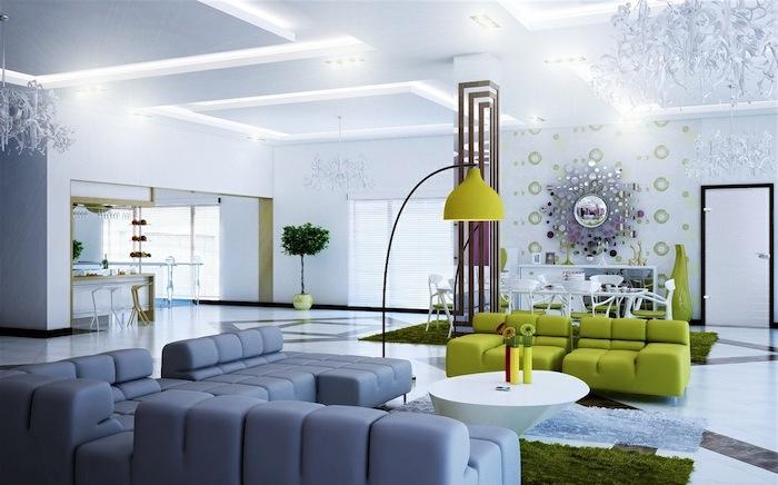 welche farben passen zusammen, zum grauen eignen sich grasgrün und lila ausgezeichnet, neonfarben zu hause mit dem neutralen grauen kombinieren, wohnzimmer design