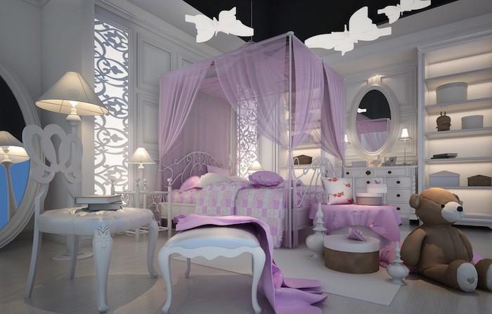 welche farben passen zusammen im mädchenzimmer, märchenhaftes design in lila und beige, braun, weiße schmetterlinge als deko