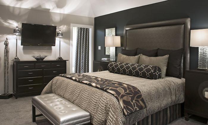 schlafzimmer grau und beige, braun, ideen, fernsehwand mit einem großen schrank, stilvolles bettdesign