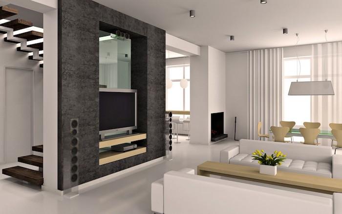 schlafzimmer grau durch treppe mit dem wohnzimmer verbinden, dachzimmer, fernsehwand idee, sofas