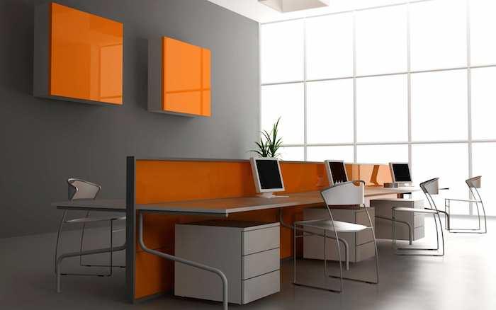 zimmer grau und orange, atmosphäre im büro frisch wirken lassen, elegant, hilft zur konzentration, computer