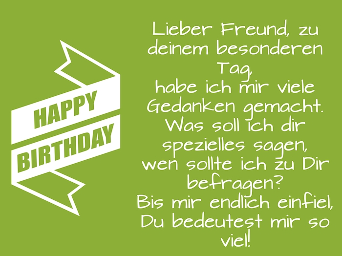 ein grünes bild mit einem kurzen geburtstagsspruch für einen mann und mit einer großen langen weißen happy birthday schleife
