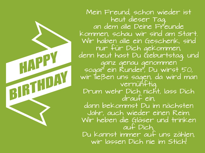 eine große weiße happy birthday schleife, ein grünes bild mit einem langen geburtstagswunsch für männer