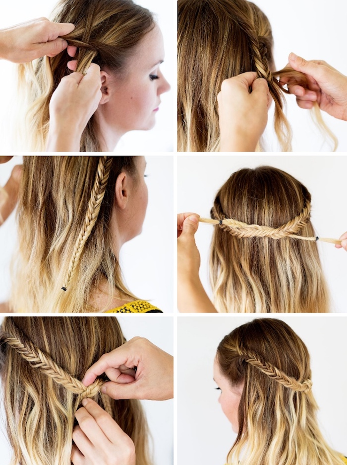 frisuren für mittellange haare, haare flechten, alltagsfrisur mit zöpfen, damenfrisuren