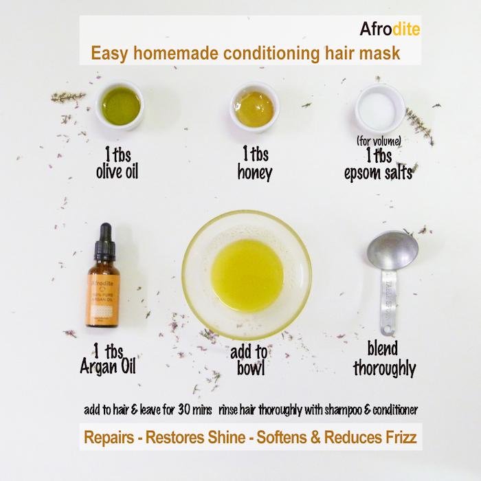 haare schneller wachsen lassen, olivelöl, honig, salz, arganöl, zutaten in schussel vermischen