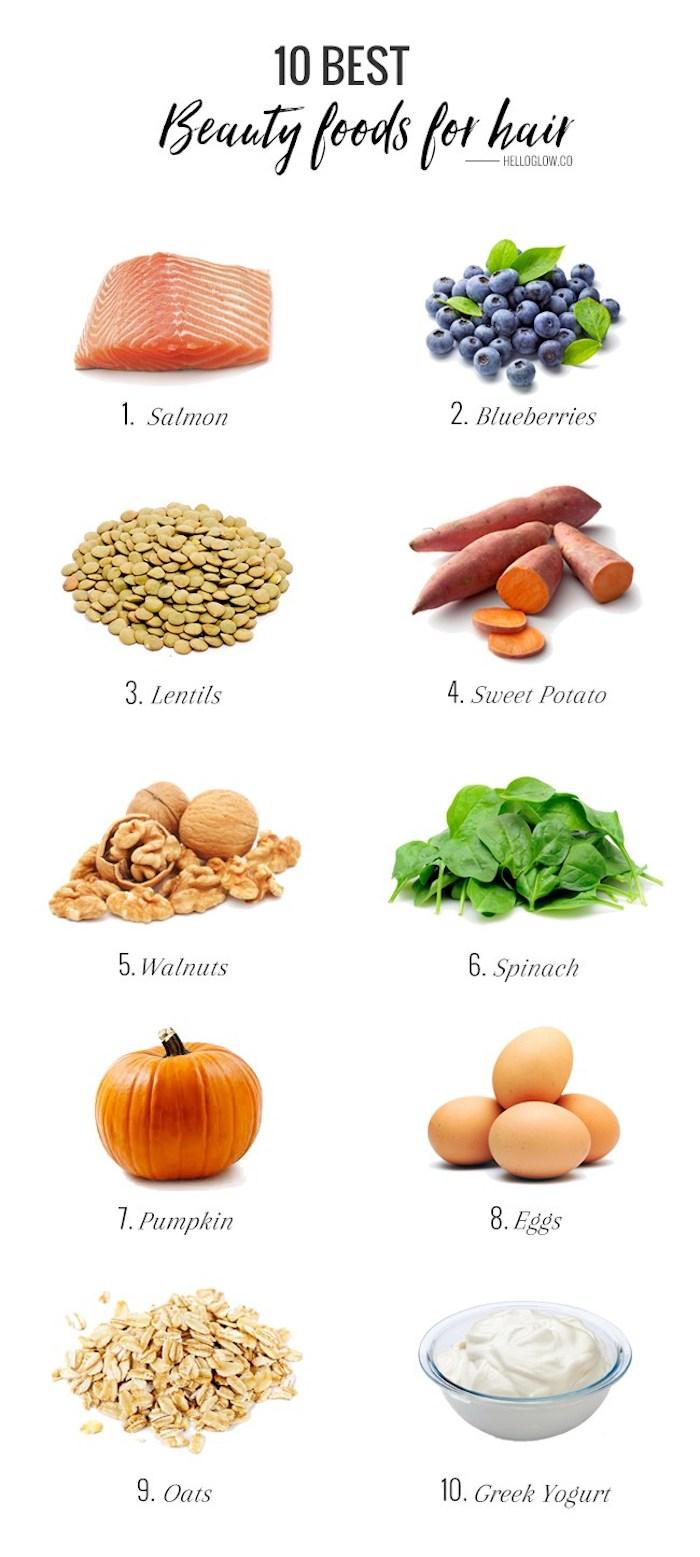 haare schneller wachsen lassen, top 10 nahrungmittel für haarwachstum, blaubeeren, süße kartoffeln, eier