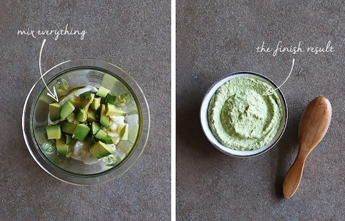 haarwachstum beschleunigen, haarkur selber machen, bürste aus holz, avocadowürfeln, zutaten mischen