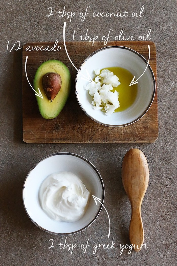 haarwachstum beschleunigen, haarkur rezept, avocadohälfte, heschmolzenes kokosöl, bulgarischer joghurt