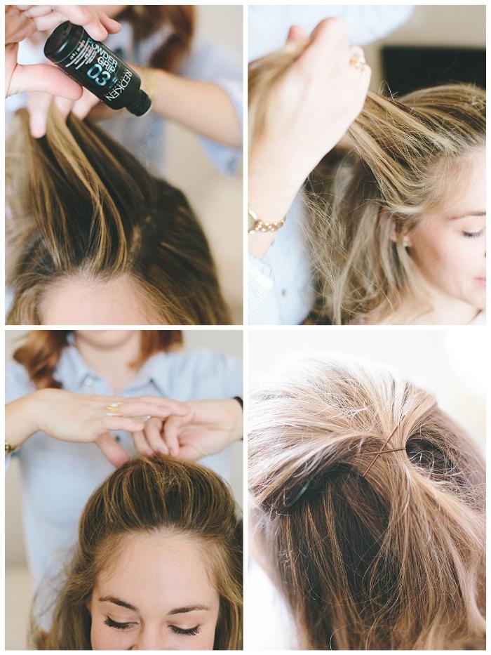 halboffene frisuren, volumenpulver verwenden, blonde strähnen, haare nach hinten kämmen, haarklemmen