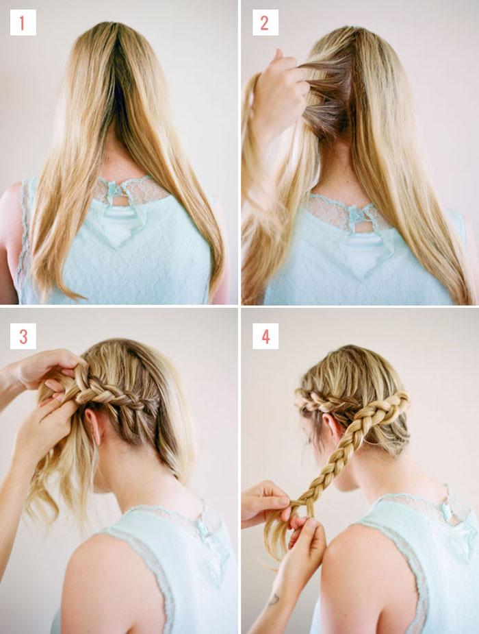 hochsteckfrisuren einfach und schnell, blaue bluse mit spitze, haare in zwei teilen trennen
