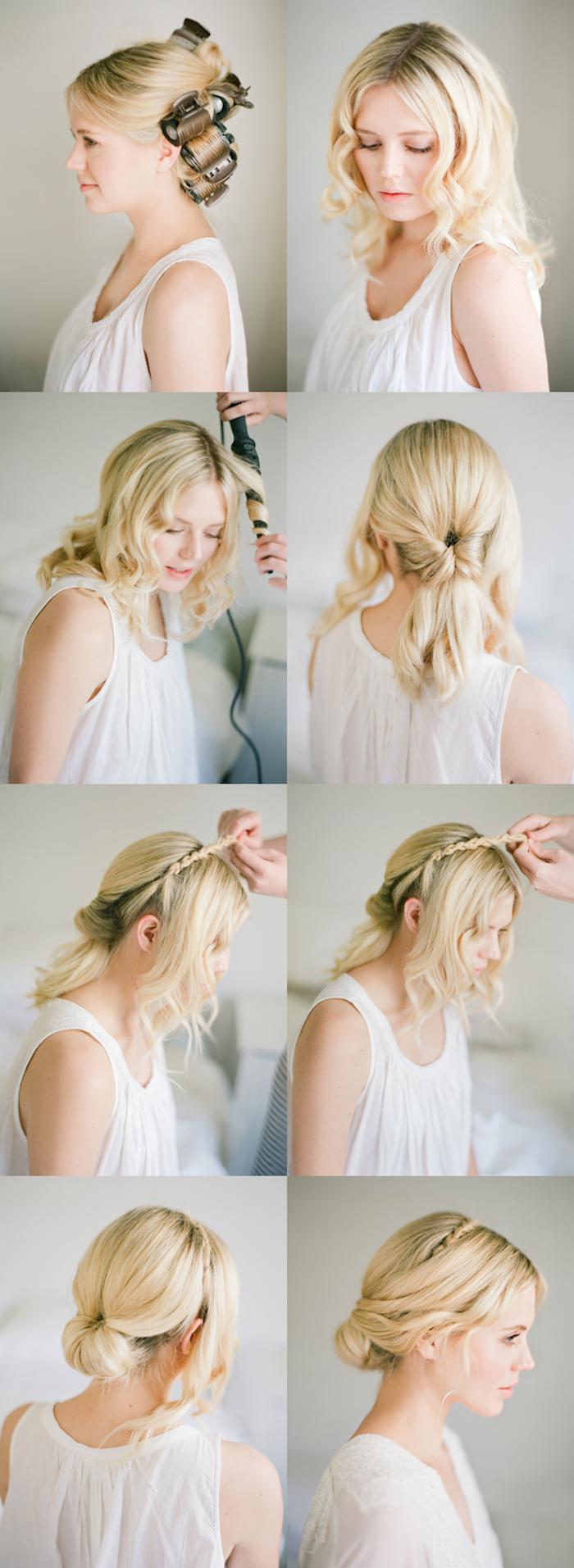 hochsteckfrisuren einfach und schnell, mittellange blonde haare, locken, dutt frisur mit zöpfen