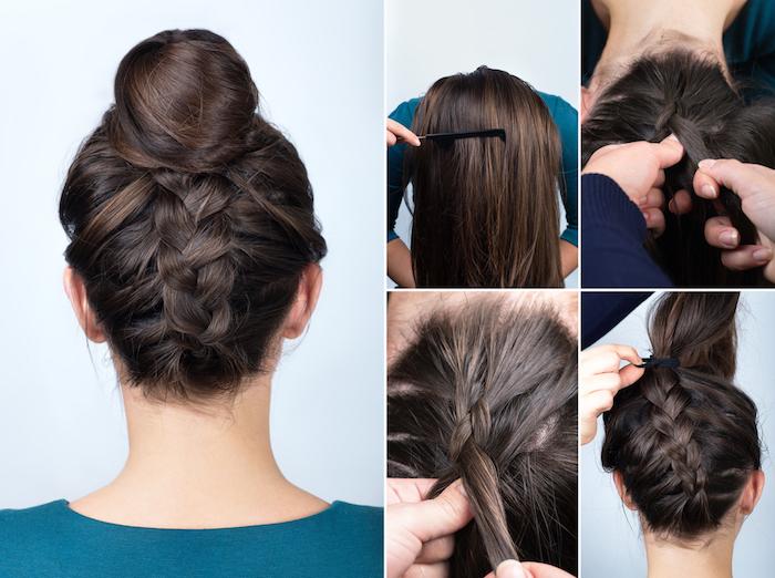 hochsteckrisuren lange haare, türkisfarbe bluse, dutt frisur mit großem zopf, haare hochstecken