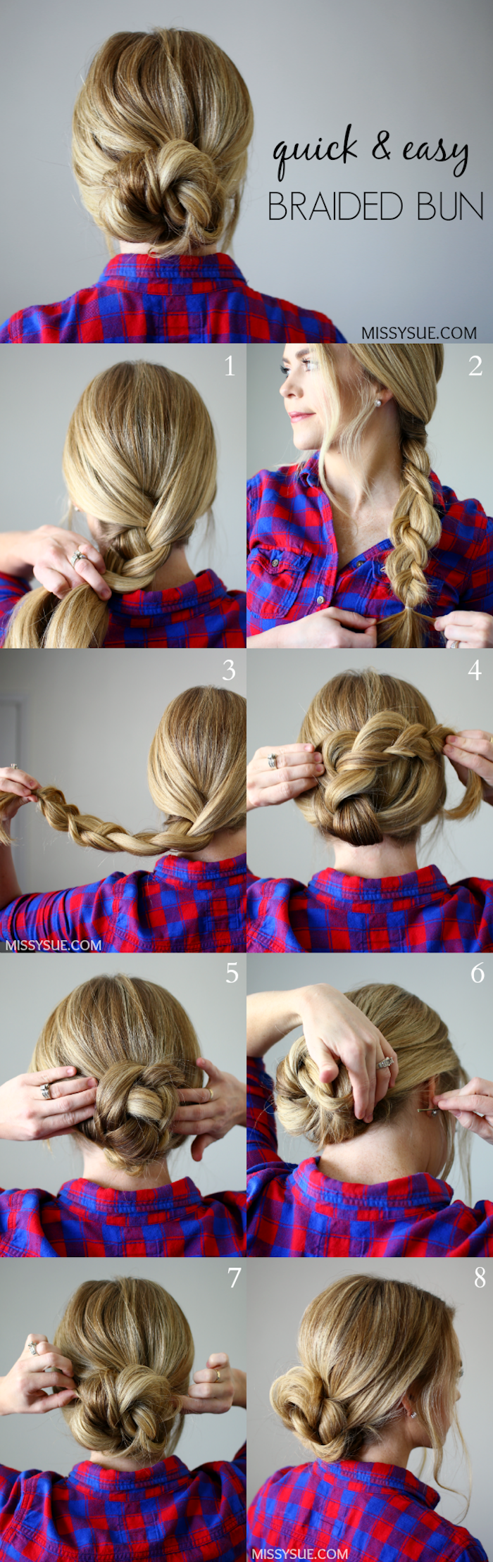 hochsteckfrisuren lange haare, haare zum dutt binden, kariertes hemd in rot und blau, dutt frisur