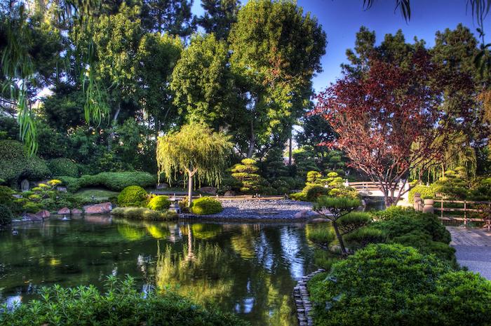 ideen gartengestaltung, großer künstlicher see, viele bäume, park, natur, wasser