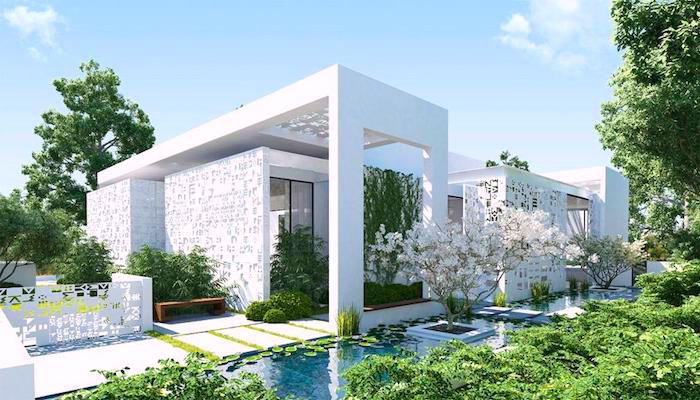 ideen gartengestaltung, modernes weißes haus, künstlicher see, weiße bäume