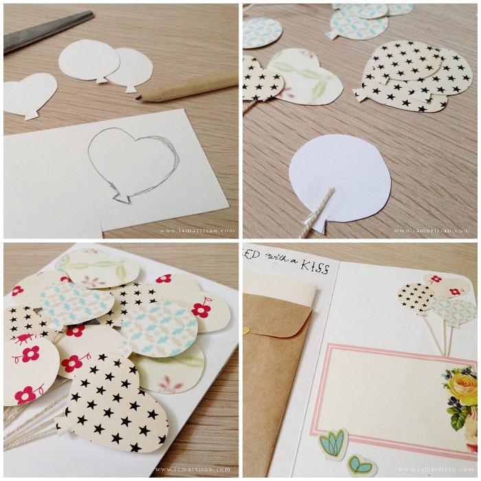 karten basteln mit papier, 3d dekorationen selber machen, luftballons aus buntem papier, herz zeichnen