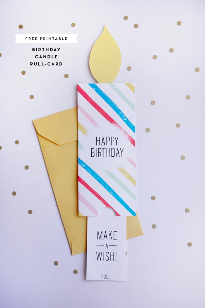 karten basteln, geburtstagskarte kerze, gelber briefumschlag, basteln mit papier, konfetti