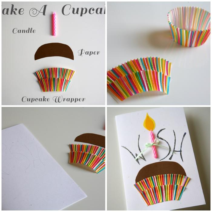 buntes muffinförmchen schneiden, cupcake, karten basteln, kerze, weißes blatt papier, basteln mit kindern