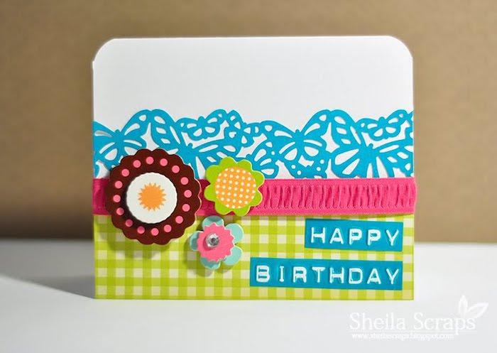 karten selber basteln, blaue schmetterlinge, bunte blumen, papierblumen, rosa schleife, geburtstagskarte