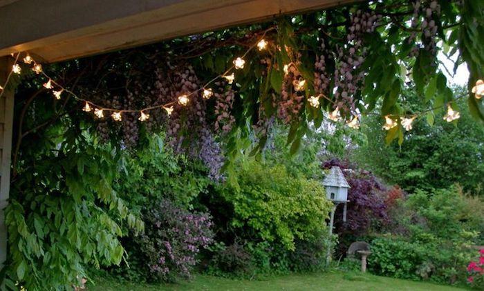 kleingarten gestalten, gartendeko, lichterkette, gartenbeleuchtung, veranda