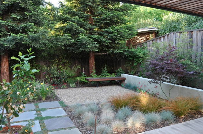 kleine Beete mit Gras, eine Gartenbank, zwei symmetrische Bäume, Garten verschönern