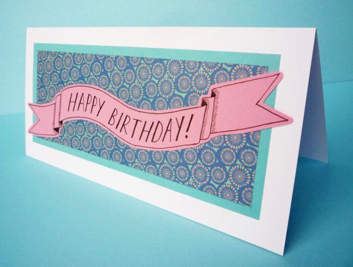 klappkarte basteln, geburtstagskarte uas weißem papier, buntem muster, bastelideen, selbstgemacht