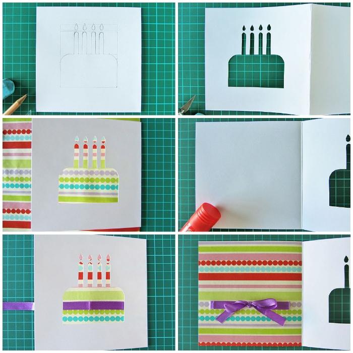 klappkarte basteln, rote zeichnen, form ausschneiden, buntem papier, lila schleife, diy