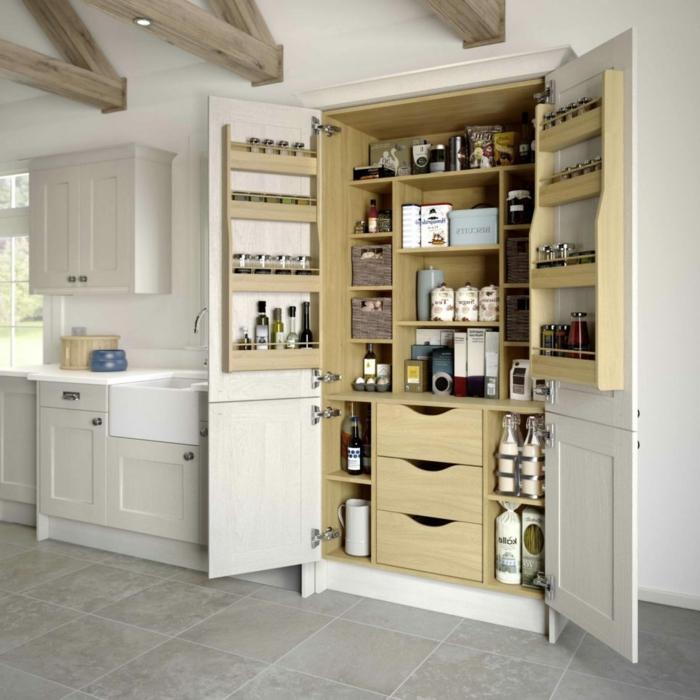 ein Küchenschrank mit allem, was man in der Küche braucht, Zimmer einrichten Ideen