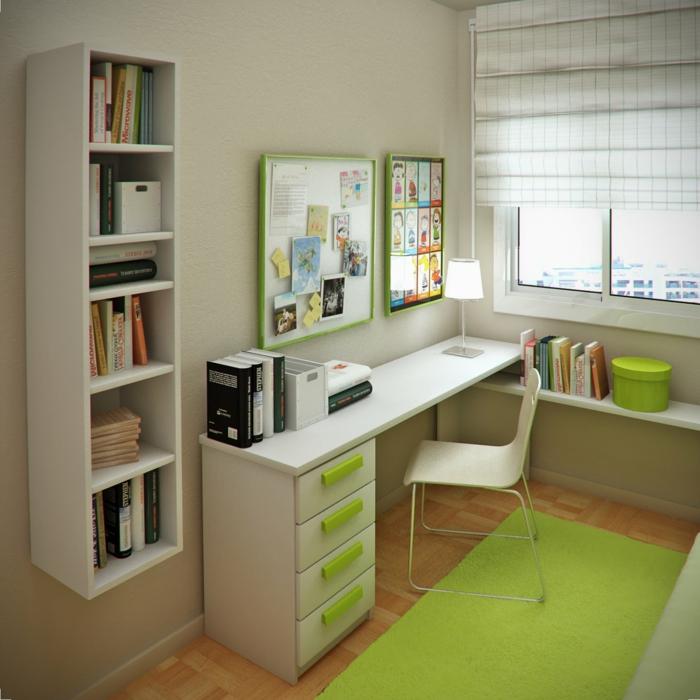 Schreibtisch mit grünen Schubladen, ausgefallener Bücherregal und grüner Teppich, Jugendzimmer Ideen für kleine Räume