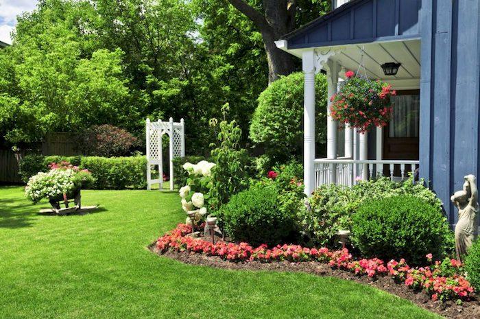 kleingarten gestalten, runde grüne büsche, kleine rote blumen, haus mit varanda