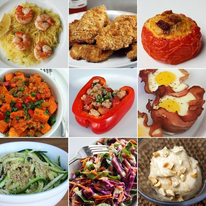 garnelen mit zucchini pasta, paprika, gerichte ohne kohlenhydrate, möhren, eier udn bakon
