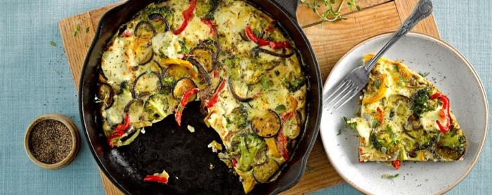 leckere speise mit eier und gemüse, gerichte ohne kohlenhydrate, aber mit vielen proteinen, in der pfanne kochen
