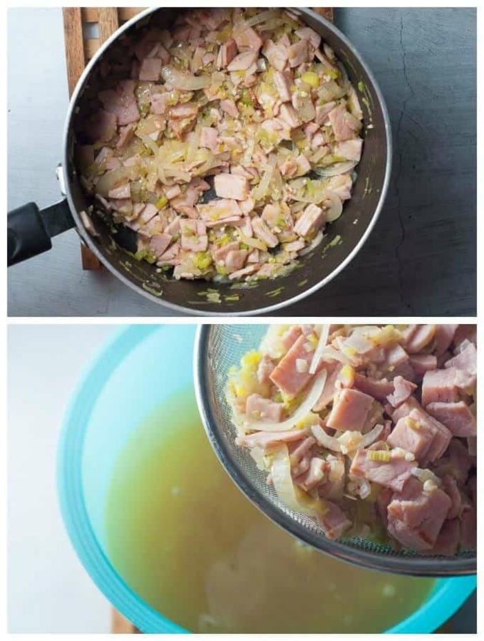 schnelle low carb rezepte in der pfanne zubereiten, fleisch, schinken, gehackt, speise mit gemüse und fleisch