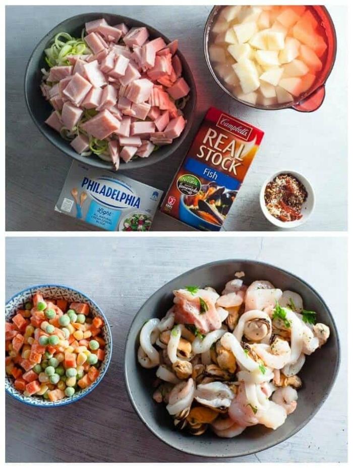 schnelle low carb rezepte mit philadelphia käse, schinkenfleisch, gemüse, meeresfrüchte