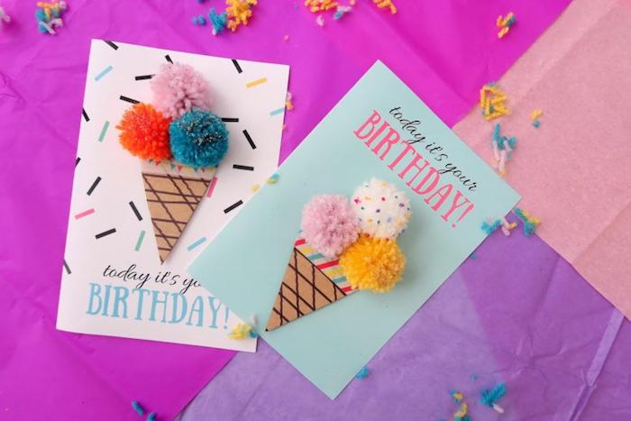 kreative geburtstagskarten basteln, pompoms aus garn selber machen, eiscreme, 3d dekorationen