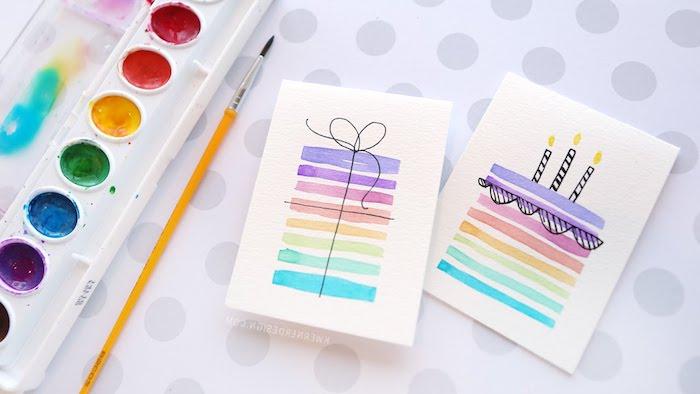 kreative geburtstagskarten basteln, geschenk und torte mit wasserfarben bemalen, kerzen, ombre torte