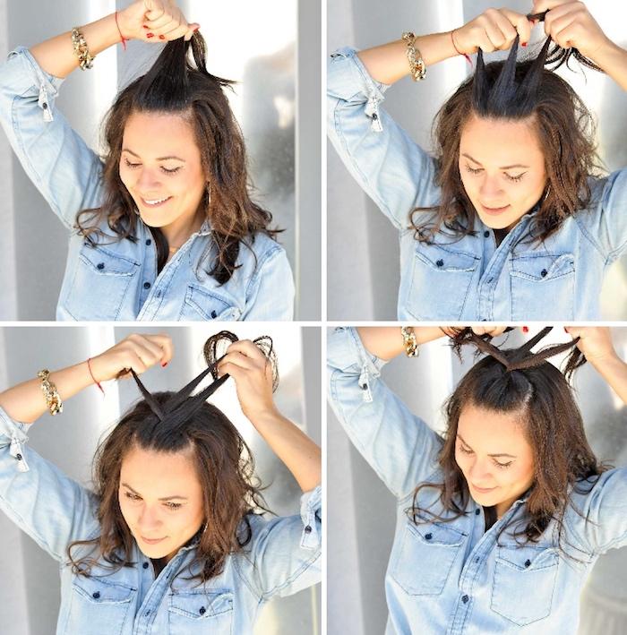 kurzhaarfrisuren locken, hellblaues hemd, schulterllange haare flechten, einfache frisuren