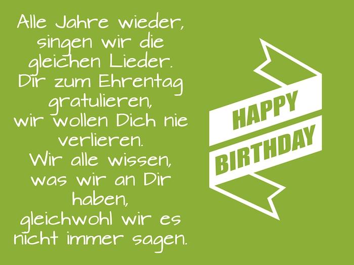 witzige geburtstagswünsche, ein grünes bild mit einem geburtstagsspruch und mit einer großen weißen happy birthday schleife