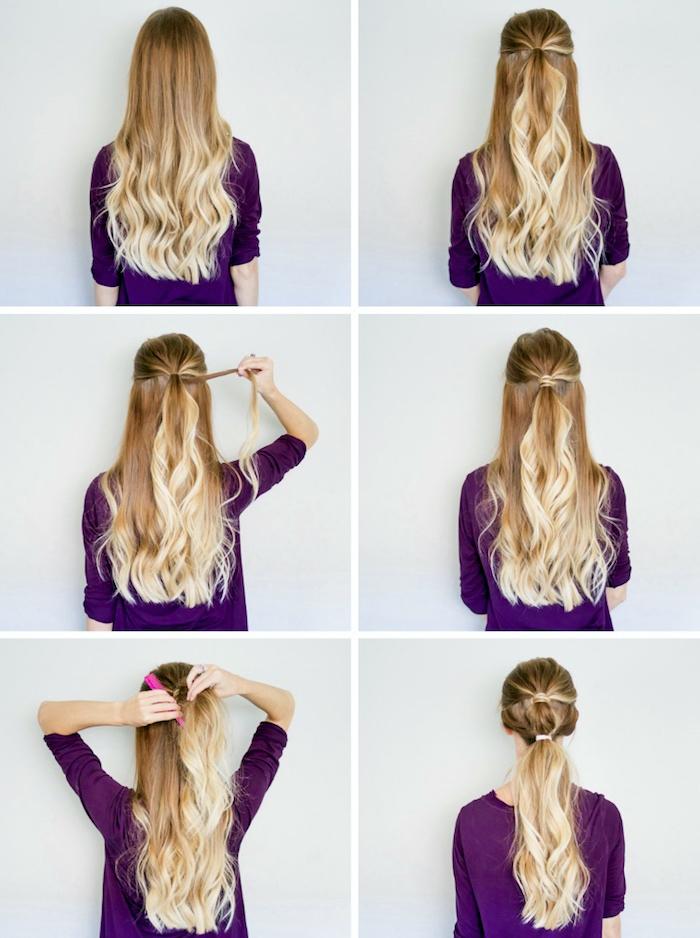 lockige haare, balayage blond, halber pferdeschwanz binden, schnelle frisuren für lange haare