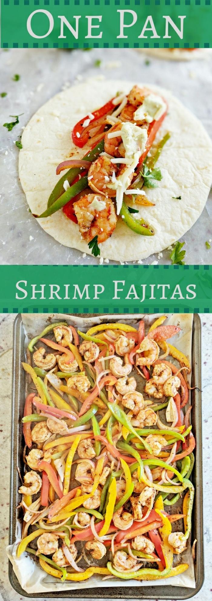 rezepte ohne kohlenhydrate, garnellen gericht mit gemüse und tortillabrot, wraps selber machen, eine kochplatte mit gemüse und meeresfrüchten