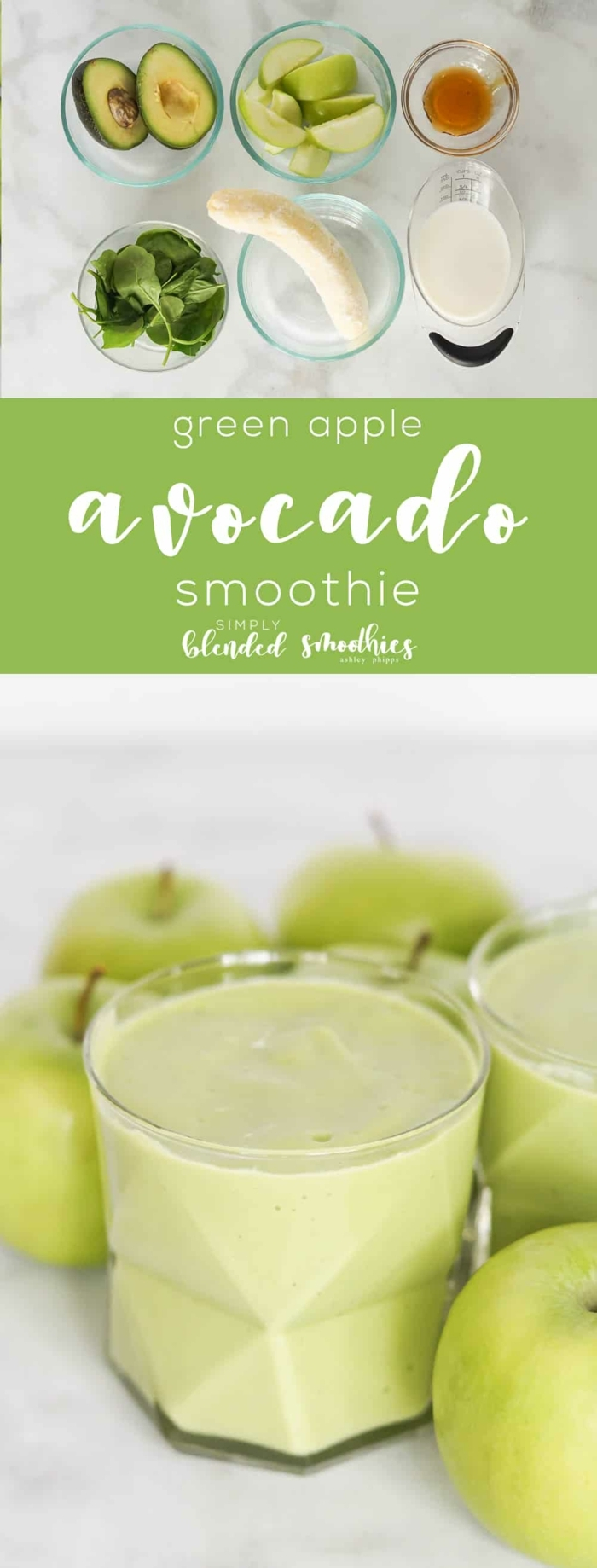 rezepte ohne kohlenhydrate, smoothie mit äpfeln, avocado, banane, sojamilch und honig