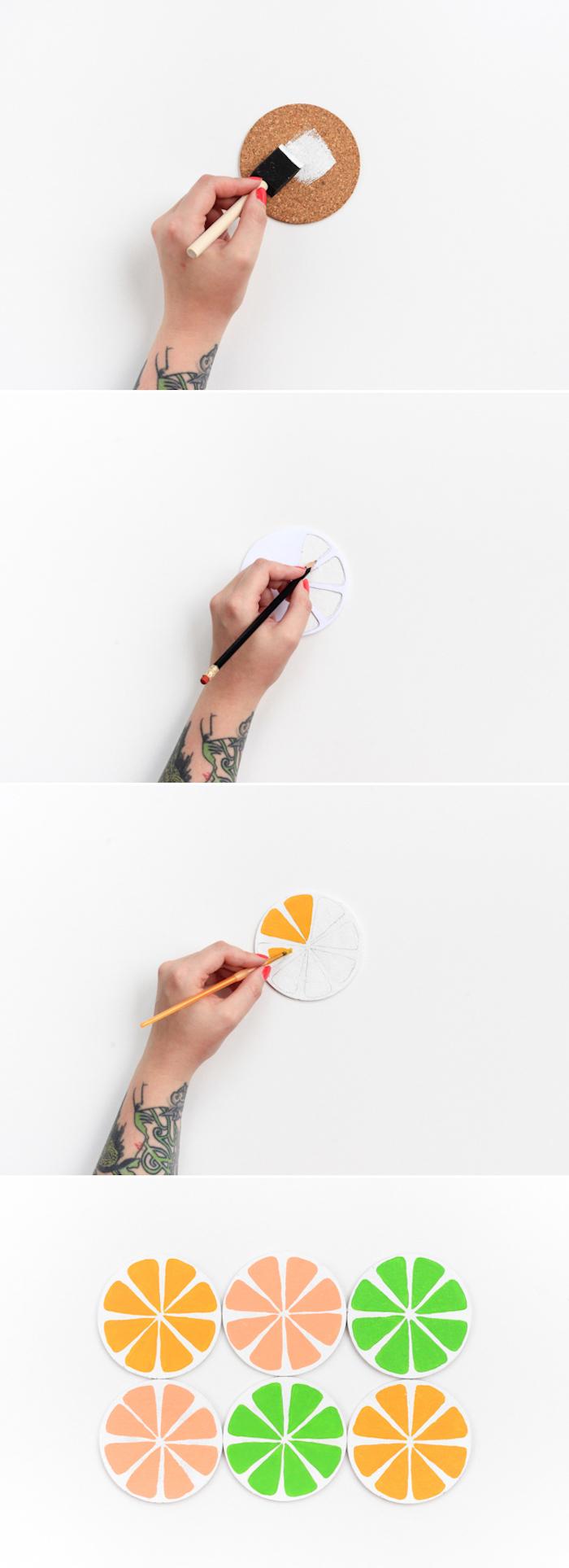 Untersetzer für Gläser selber basteln und bemalen, in Form von Zitrusfrüchten