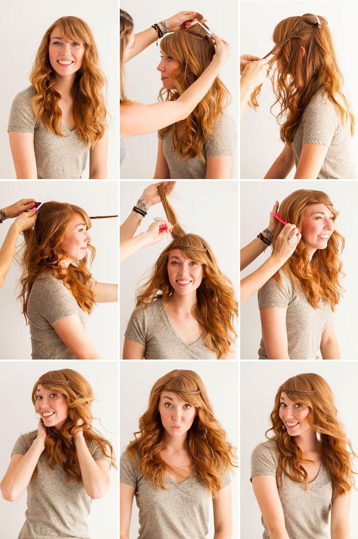 naturlocken frisuren, beiges t-shirt, honigfarbene haare toupieren, roter kamm, locken machen