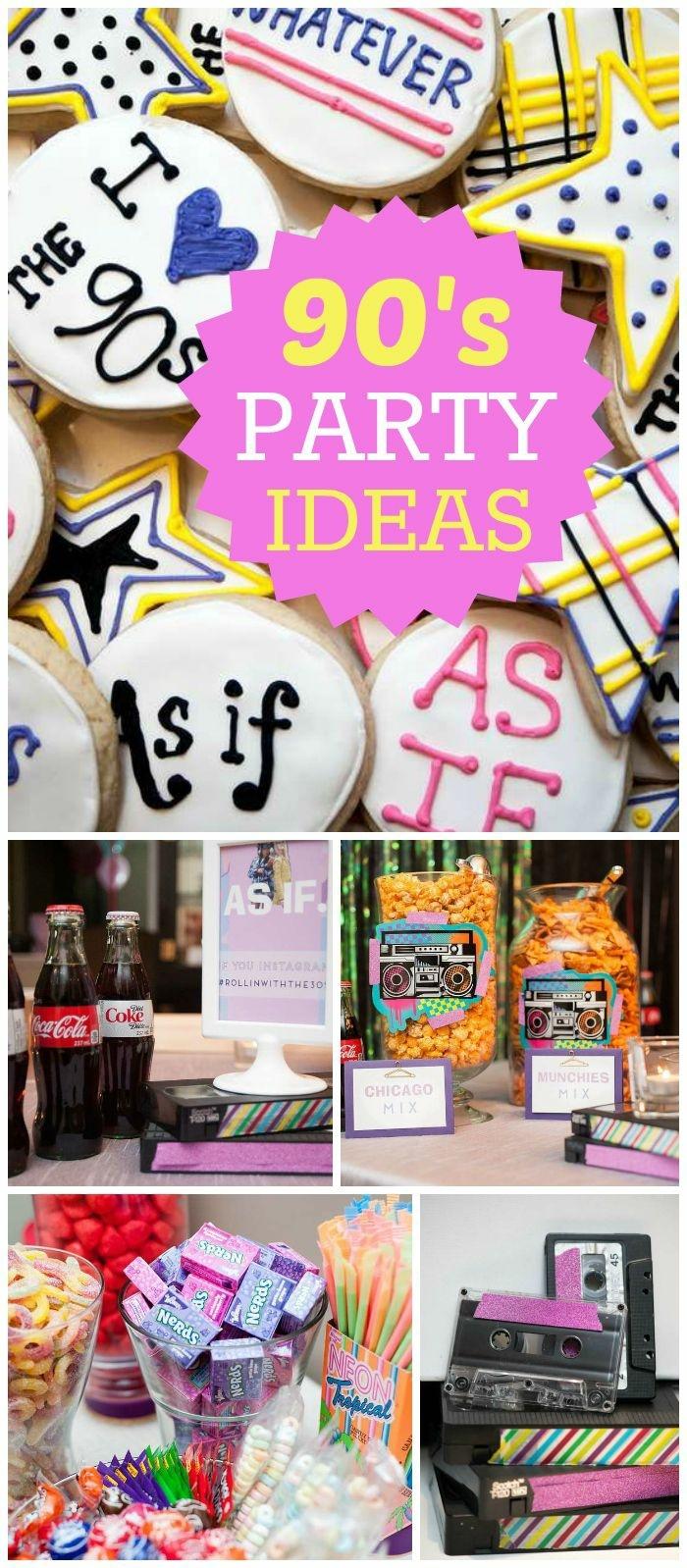 18 geburtstag deko idee zu einer motivparty im stil neunziger jahren kekse mit aufschrift, cola, snacks, dekorationen